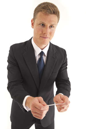 Young businessman giving someone business card photo