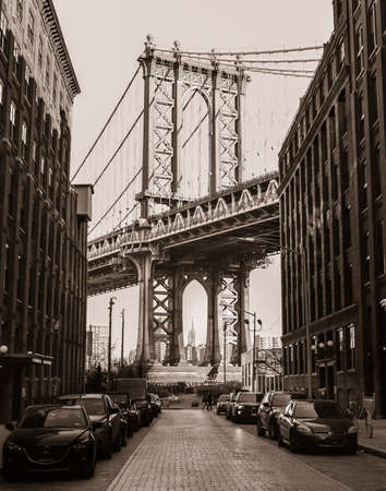 Manhattan Bridge and the Empire State building from Brooklyn