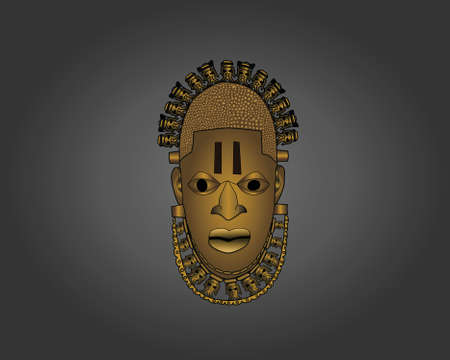 Benin Ivory Mask vector illustration