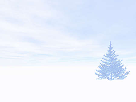 Winter landscape with christmas tree photo