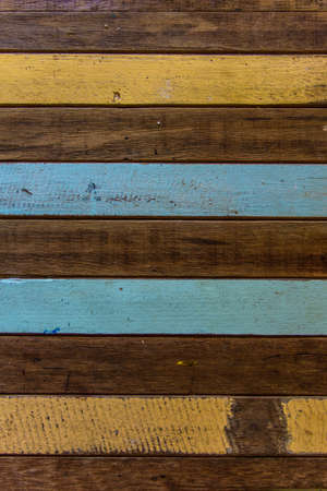 Old wood background, yellow, blue, brown  photo
