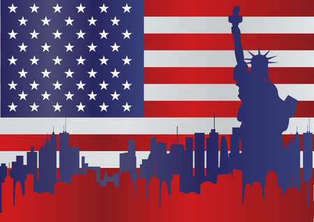 Statue of Liberty and American flag Vector