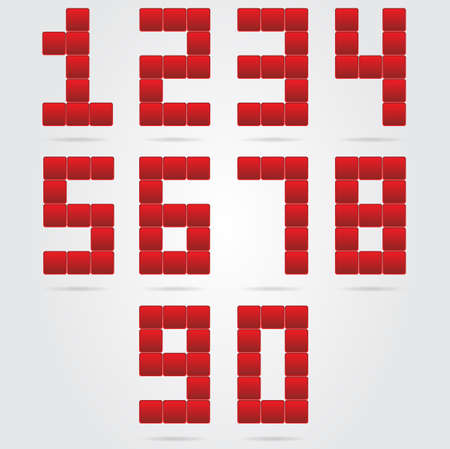 red box numbers set  Vector
