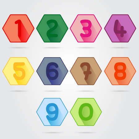 colorful hexagon Numbers set Vector