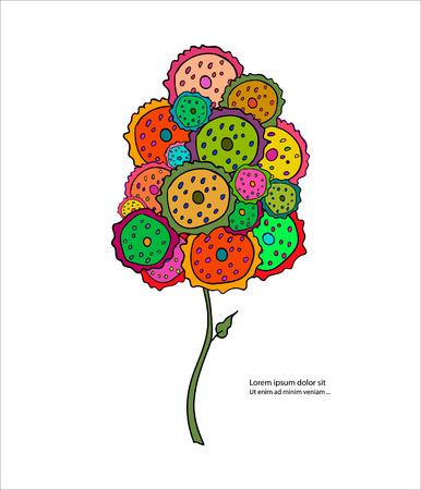 árbol abstracto colorido para su diseño. árbol estilizado y texto.