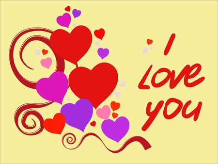 declaration: Happy Valentines Day declaration of love, and I love you red text. Suitable for birthday and wedding. Vector illustration.