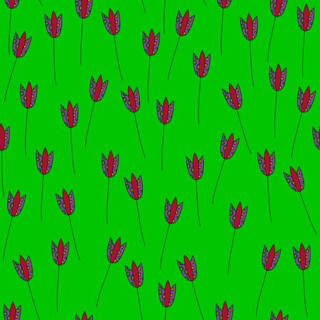 strongly: Seamless pattern. Tulips on a strongly green background. For printing on packaging, bags, cups, laptop, furniture, etc. Vector. Illustration