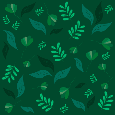 Vector pattern. Different leaves on a dark green background.