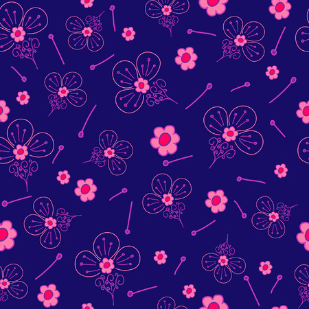 Floral fantasy pattern seamless. Abstract hand-drawn flowers on blue background. Vector illustration.