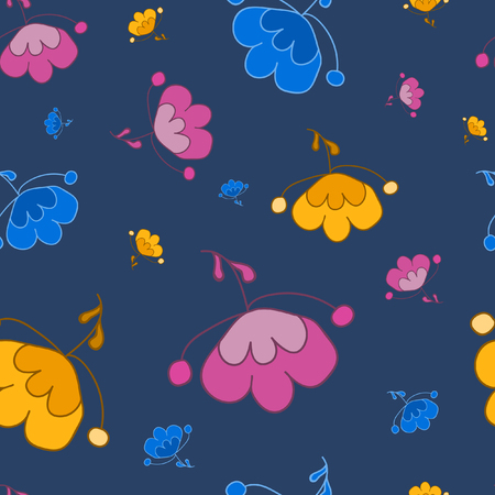 Seamless flowers pattern on a blue background. For printing on packaging, bags, cups, laptop, furniture, etc. Vector.