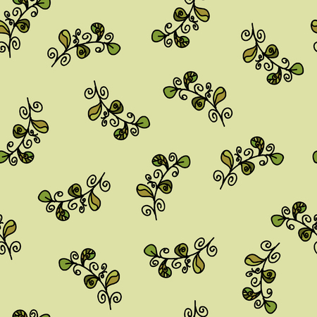 Seamless vector pattern. Beautiful leaves on a green background.