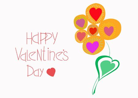 Happy Valentines Day. Abstract flower in the shape of hearts. Greeting postcard. Vector illustration.