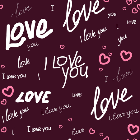 Seamless pattern text i love you and heart on a vinous background. For printing on packaging, bags, cups, laptop, etc. Vector.