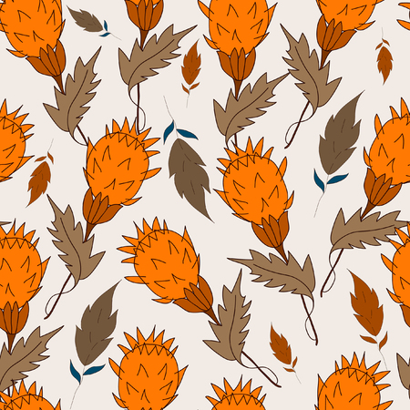 Seamless pattern grass and leaves on a Light grayish orange background. For printing on packaging, bags, cups, laptop, furniture, etc. Vector. Illustration