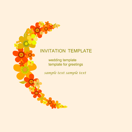 Invitation Template. Flowers of different colors semicircle on a beige background. It can be used for wedding invitations, birthday and other holidays. Vector illustration.