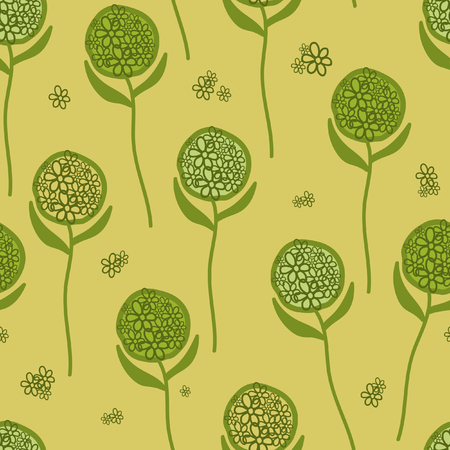 Seamless pattern. Green flower on a green background. For printing on packaging, bags, cups, laptop, furniture, etc. Vector.