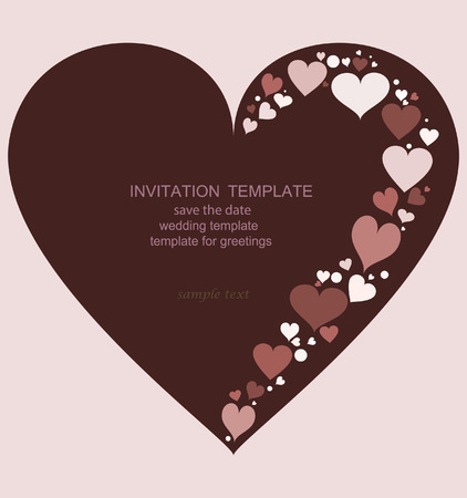 Template invitations in the shape of heart chocolate color. For wedding invitations, save the date, birthday and other holiday. Vector illustration.
