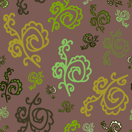 Seamless pattern of plant elements. Desaturated dark red background. It can be used for printing on packaging, bags, cups, laptop, etc. Vector. Illustration