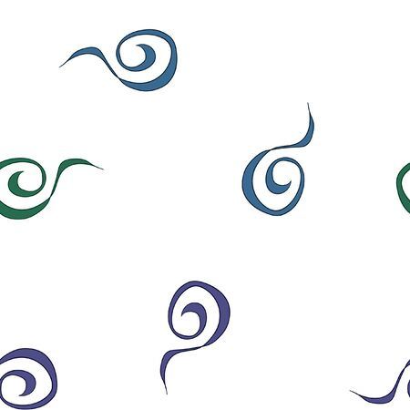 Abstract continuous swirl pattern in blue and green color. Vector. For your design.