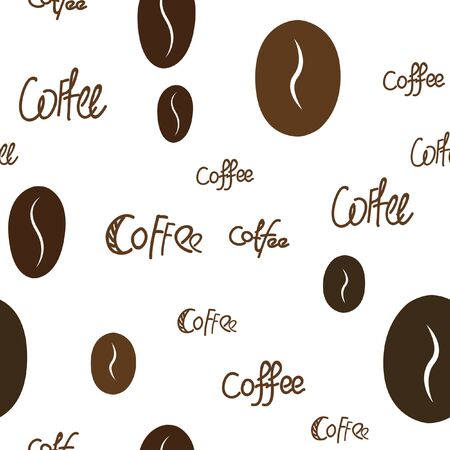Seamless Coffee and text Pattern. Vector image for your design.