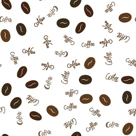 Seamless pattern coffee beans and text. Vector. For your design. Illustration