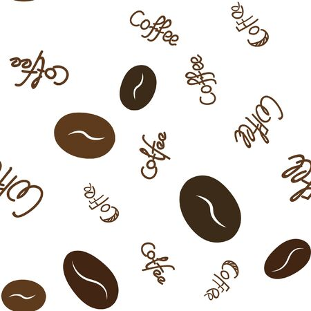 Seamless pattern with coffee beans and text. Vector. For your design.