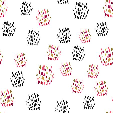 Abstract Seamless pattern with splinters different color and black. Vector texture. Can be used for printing on packaging, bags, cups, laptop, box, etc. Pattern under the mask. Illustration