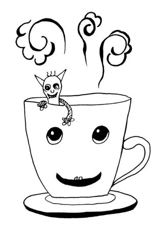 Cup of Coffee or Tea with smiling monster. Pencil drawing on white background. Vector.  For your design, menu or cafe theme. Illustration
