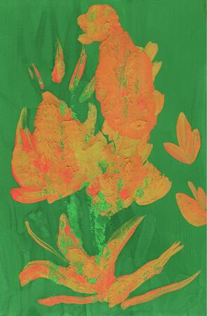Abstract flower on a green color background. Hand-painted painting gouache. Can be used for textile, backgrounds, printing on packaging, bags, laptop, box, etc.