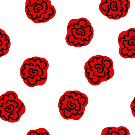Beautiful Seamless pattern with flowers red color. Can be used for printing on packaging, bags, cups, laptop, box, etc. Pattern under the mask. Vector. Banque d'images - 149825445