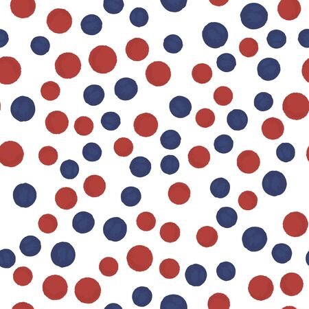 Hand Drawn seamless pattern polka dots in blue and red colors. Elements are not cropped. Pattern under the mask. Vector. Perfect design for posters, cards, textile, web etc.