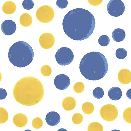 Hand Drawn seamless pattern polka dots in blue and yellow colors. Elements are not cropped. Pattern under the mask. Vector. Perfect design for posters, cards, textile, web etc. Banque d'images - 150519863