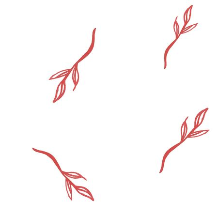 Seamless pattern with twigs in red color. Vector. For your design. Illustration