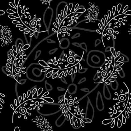 Stylish Seamless pattern with leafs on a black background. Vector. Perfect for your design.