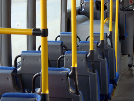 honk: Passenger cabin of a city shuttle bus without passengers Stock Photo