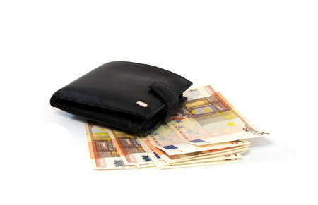 change purse: Leather purse with several banknotes of euro, close up