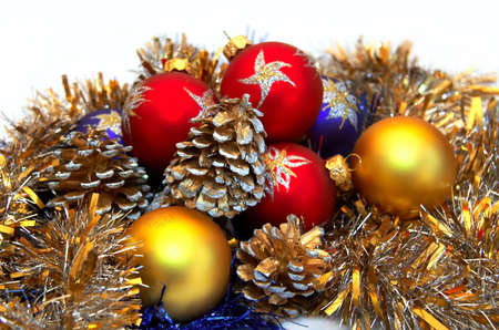Celebratory balls and cones for New Year and Christmas Stock Photo - 3110938