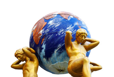 Statues support the globe of the Earth photo