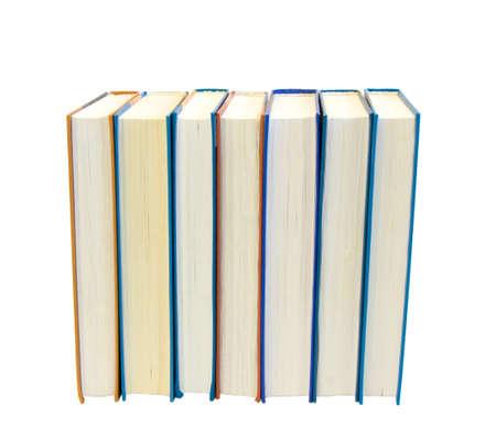 bibliomania: Lot of books isolated Stock Photo