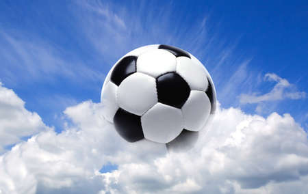 skylight: Football ball in the sky Stock Photo