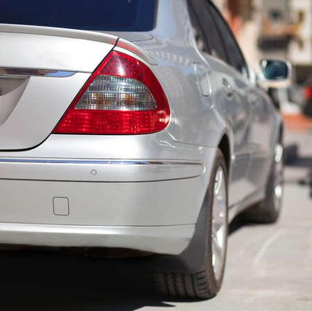 shiny car: Achteraanzicht van de auto  Stockfoto