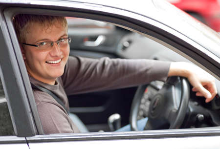 car glass: Smiling driver Stock Photo