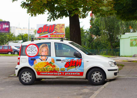 poznan: POZNAN, POLAND - JUNE 27, 2015: Parked Sky Pizza delivery car