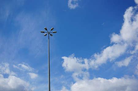 metal pole: Six lamps on long metal pole