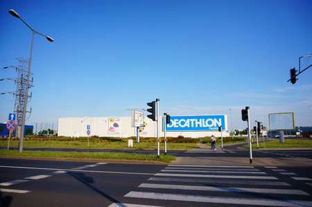 zebra crossing: POZNAN POLAND - AUGUST 01, 2015: Zebra crossing leading to a Decathlon sport super store Editorial