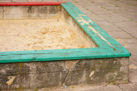 sandpit: Square sandpit at a play ground Stock Photo