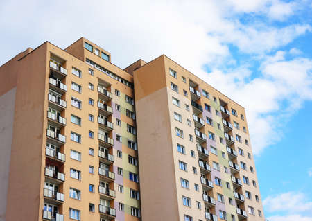 many windows: Apartment building with many windows and balconies Stock Photo