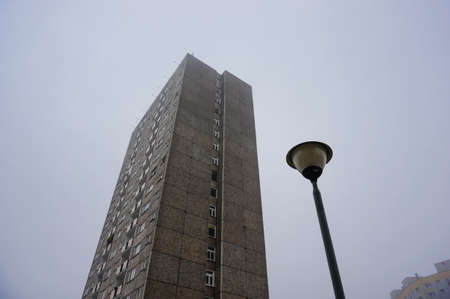 rentals: Apartment building on a cloudy day