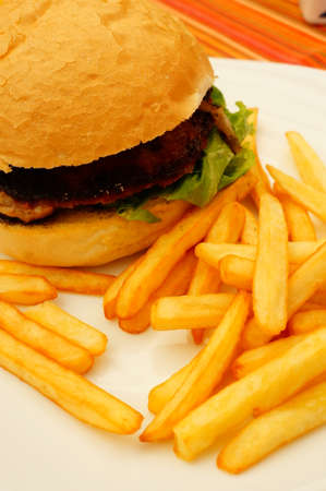 frites: Meat burger served with frites on plate