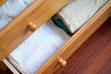 drawers: Open drawers filled with towels